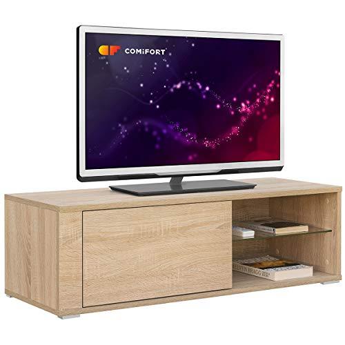 COMIFORT Mobile TV - Mobile da Salotto Moderno, Anta con Sistema Click, Mensola in Vetro Temperato, Molto Resistente, Fabbricato in Europa, Colore Rovere