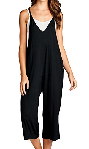 Loving People Solid Spaghetti Strap V Neck Loose Fit Capri Jumpsuit, Small, Black