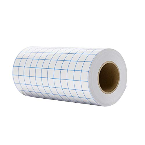 Clear Vinyl Transfer Paper Tape Roll 6' x 50 Feet Clear W/Blue Alignment Grid - Application Transfer Tape Perfect for Self Adhesive Vinyl for Signs Stickers Decals Walls Doors & Windows