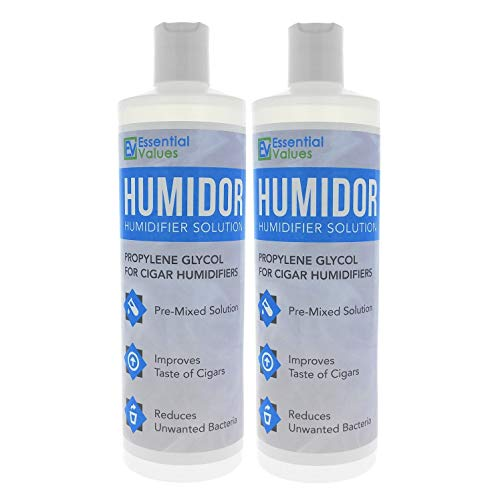 Cigar Humidor Solution (2 Pack / 16 oz Per Bottle), Best Propylene Glycol Formula for Cigar Humidifiers, Keep Stogies Fresher Than Ever in Cigar Humidor & Box by Essential Values