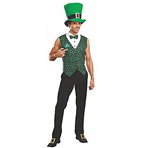 DreamGirl Costume IRE Taglia M–XXL Quadrifoglio Uomo Barry Gilet con Cappello St. Patricks Day