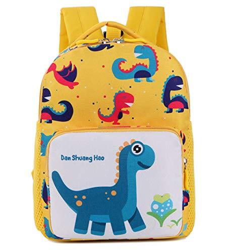 Panegy - Mochila Infantil para Guardería Bolsa de Dibujos de Dinosaurio en 3D Linda para Niñas Niños Pequeños 1-6 Años Mochila Multifuncional para Viajes Lienzo Amarillo
