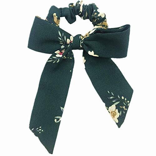OULN1Y Bandeaux 1pcs Cotton Bow Scrunchies Flower Stripe Elastic Hair Band Girls Ponytail Holder Women Bow Knot Hair Tie Head wear,Dark Green
