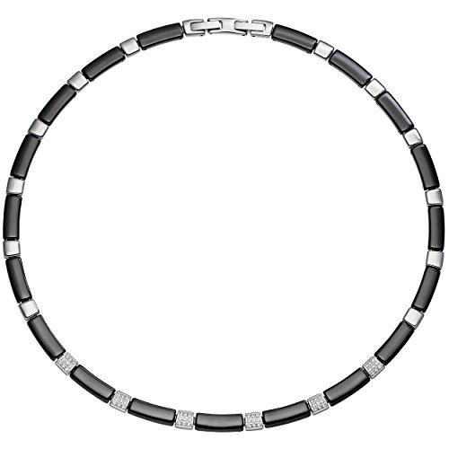 JOBO Collier Halskette aus schwarzer Keramik mit Edelstahl und Zirkonia 47 cm Kette