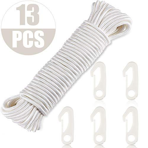WILLBOND 80 Ft Fahnenmast Seil und 12 Stück Fahnenmast Clip Fahnenmast Karabiner zum Befestigen der Fahne am Fahnenmast, Weiß