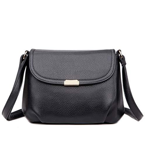 Bolso bandolera para mujer, estilo casual, bolso de mano para exteriores, bolso de la compra de piel y materiales cruzados, bolso pequeño con doble cremallera