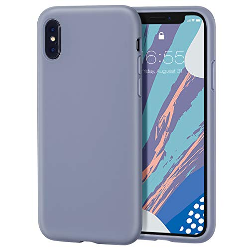 MILPROX iPhone X/Xs Silicone Series Liquid Silicone Gel Rubber Slim Fit Case with Soft Microfiber Cloth Lining Cushion for iPhone X/iPhone Xs-Lavendar Gray.