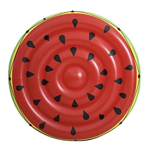 Doppel-Schwimmende Reihe Wassermelone Aufblasbares Schwimmbett Schwimmende Insel Strandmatte Wasserkissen Aufblasbarer Pool-Liegestuhl Lastenträger 200kg (Color : Red, Size : 187cm)