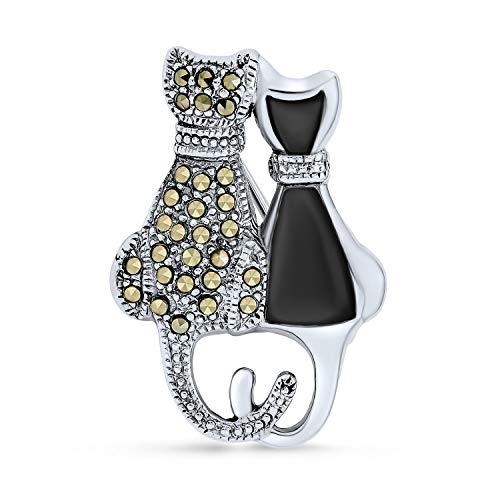 Negro ónix marcasite dos lindo gato sentado gatito kitty broche pin para las mujeres .925 plata de ley