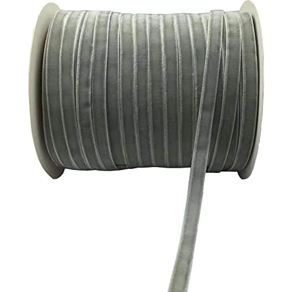 10 Yards Velvet Ribbon Spool Available in Many Colors (Gray, 3/8