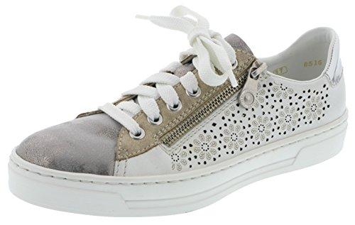 Rieker Damenschuhe L8516 Damen Halbschuhe Sneaker extra weit, lose Einlage, Deko-Reißverschluss außen, Lasercut, Trendthema Sneaker grau Kombi (Grey/reinweiss/Platin/Argento / 41), EU 36