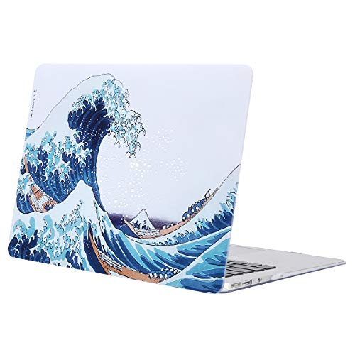 MOSISO Hard Case Compatible with MacBook Air 13 inch Model A1369 / A1466 (Release 2010-2017 Older Version), Ultra Slim Pattern Plastic Protective Snap On Shell Cover, Great Sea Wave