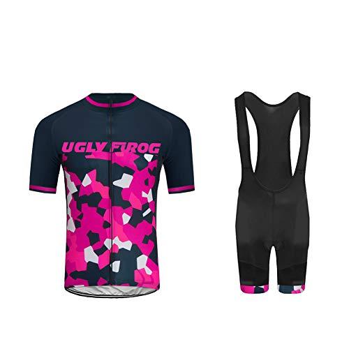 Uglyfrog 2021 Rennrad Trikot Fahrradbekleidung Herren Radtrikot Kurzarm mit 20D Gel Sitzpolster Hose kurz Anzüge für Radsport Atmungsaktiv Frühling/Sommer XSNH01