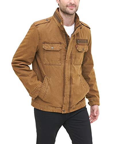 Levi's Men's Washed Cotton Two Pocket Military Jacket, Sherpa Lined Workers Brown, Medium