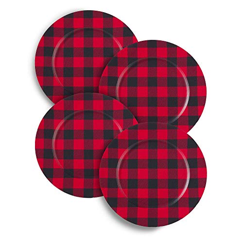 "Mud Pie Deck The Halls Red Tartan Plaid Charger Plates  13/"" Diameter  Set of 4"