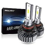 SEALIGHT 9005 HB3 LED Headlight Bulbs, Fanless 6000K White, Easy Installation, High Beam 9145/H10 Fog Lights, Halogen Replacement, CSP Chips