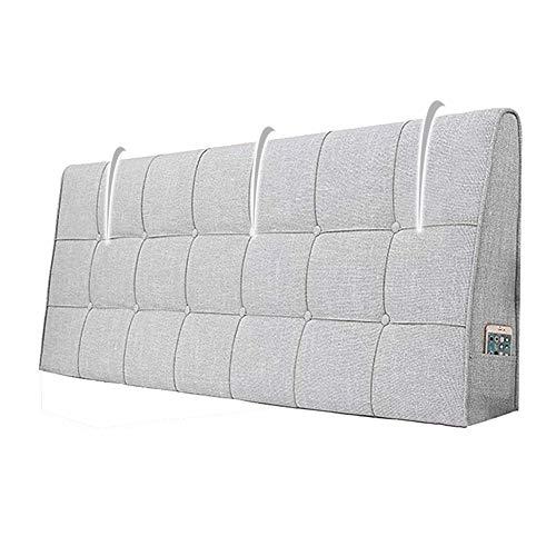 N / A Huvudgavel ryggstöd kudde för säng soffa sovrum med förvaringsväska stoppad ländkudde mjuk tvättbar avtagbar (färg: Ljusgrå, storlek: 160 x 62 cm)