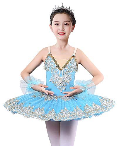 ZX Vestido de ballet con falda para nias, con encaje, tut, para competicin, 4  13 aos - azul - 6-7 aos