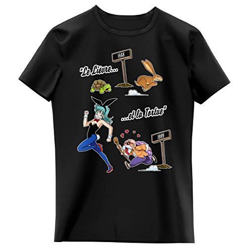 Okiwoki T-Shirt Enfant Fille Noir Parodie Dragon Ball - Tortue Géniale et Bulma - De La Fontaine à Toriyama. (T-Shirt Enfant de qualité Premium de Taille 3-4 Ans - imprimé en France)