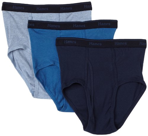 Hanes Ultimate Men's 3-Pack Classics Full Rise Brief, Slate Heather/Blue Stone/Federal Blue, X-Large