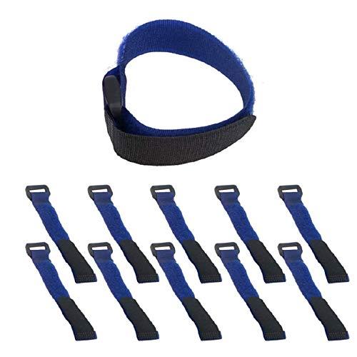 Organizador de cables autoadhesivo multifunción, gancho reutilizable, nailon, color azul, 10 unidades