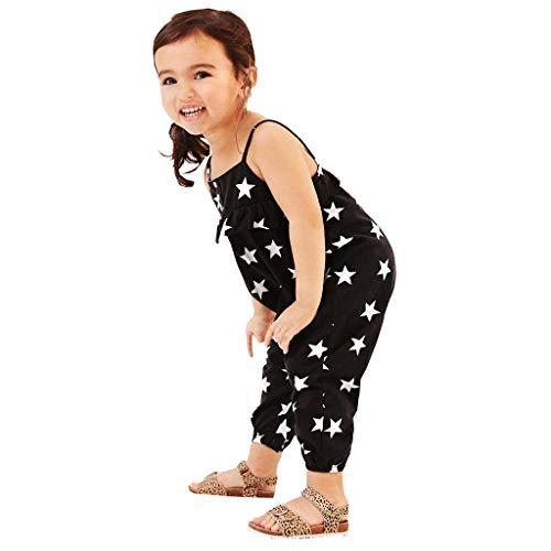 Riou Overall Baby Mädchen Sommer Kleinkind Baby Mädchen ärmellose Sterne drucken Rüschen Rückenfreie Babykleidung Spielanzug Jumpsuit Romper Overall Body Strampler Set