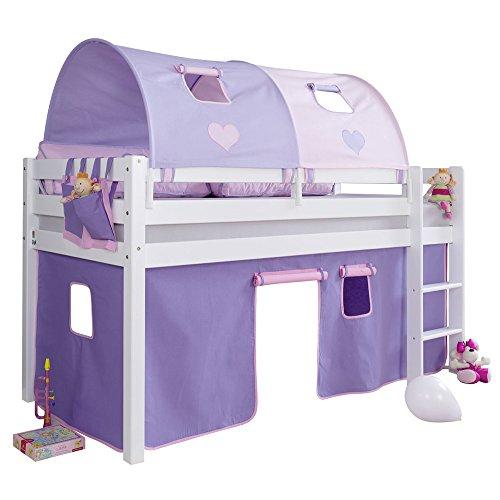 Relita Halbhohes Spielbett Alex mit Vorhang, 2-er Tunnel und Tasche, Buche massiv, weiß lackiert