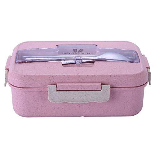 Cttiulifh Bento Box Leakproof, 1 Bento Lunch Box Tiers boîtes à lunch avec Réutilisable Couverts de style japonais for Micro-ondes Congélateur Lave-vaisselle Boîtes à Bento for adultes Enfants travail