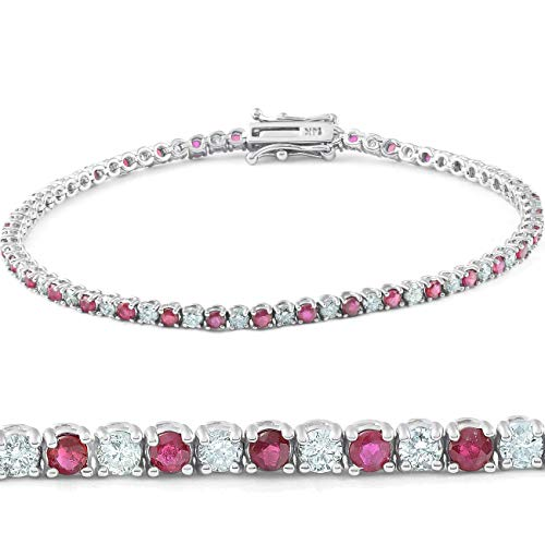 3 CT Round Shaped Genuine Real Ruby And Diamond Tennis Bracelet For Women in 14KT Solid White Gold HI Color I Clarity 7 Inches