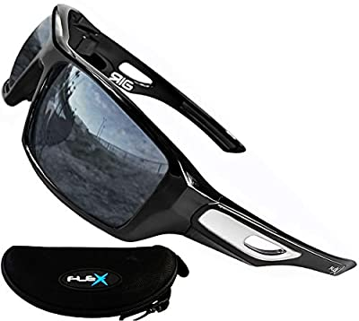 FLEX- Polarized Sunglasses for Men, Ultra Tough & Lightweight TR90 Frame with anti glare UV protection lenses. Fashionable Sports Sunglasses for biking skiing baseball driving fishing golf cycling