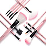 Zodaca 12-Piece Makeup Brushes Set Professional Cosmetic Foundation Blending Blush Concealer Eyeshadow Powder Cruely-Free Synthetic Fiber Bristles Make Up Brush Kit Tool with Pouch Bag, White/Pink