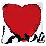 Pzpgeq Kit de Hebilla de Bricolaje Funda de Alfombra cojín Alfombra cojín de Suelo Funda de Almohada Crochet Hecho a Mano Adecuado para niños Adultos Regalo de Padres en Forma de corazón