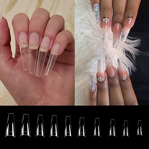 Falsche Nägel Tips 500 Stück Sargform Nägelspitzen C Kurvenform Falsche Nagel Half Cover für Mädchen Frauen