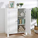 ZENY Bathroom Floor Storage Cabinet with Double Door Adjustable Shelf, 23.6 x 11.8 x 31.6 inch, White