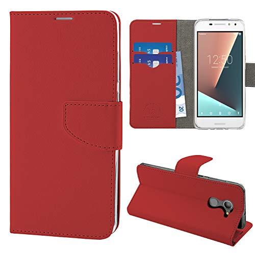 N Newtop Schutzhülle kompatibel mit Vodafone Smart N8, HQ Lateral Hülle Buch Flip Magnetverschluss Brieftasche Kunstleder Stand (Rot)