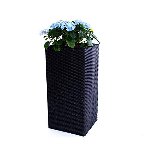 Elegant Einrichten Blumenkübel, Übertopf Polyrattan Säule 30x30x80cm schwarz.