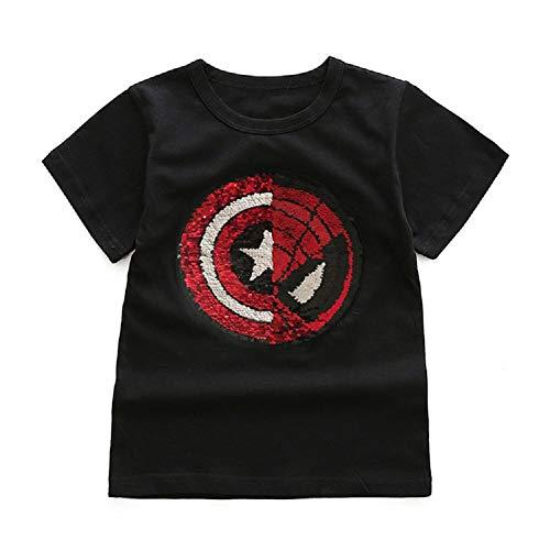 Camiseta de Manga Corta con Lentejuelas mágicas para niños y niñas (150#(9-11 años de Edad), Negro)