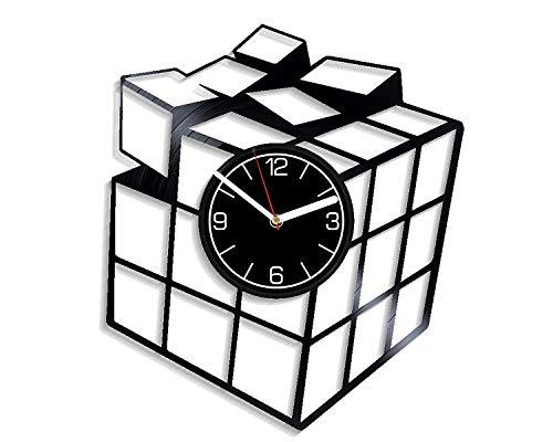 Rubik's Cube Vinyl Record Reloj de pared Juego Reloj de vinilo Regalo de cumpleaños para hombres Rubik's Cube Reloj de pared Juego moderno Decoración para el hogar Rubik's Cube Clock Juego Arte d