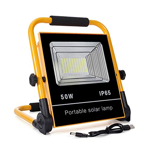 50W LED Baustrahler Akku, 120LED tragbares Flutlicht mit Solarpanel, IP65 Wasserdicht Scheinwerfer, 6000K Tageslichtweiß Strahler für Camping, Fischen, Forschungsreise, Autoreparatur, Werkstattlampe