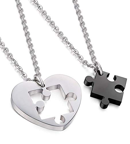 CASSIECA Corazon Puzzle Collar de Acero Inoxidable para Hombres Mujeres Enamorados Amor Pareja Colgante Collar