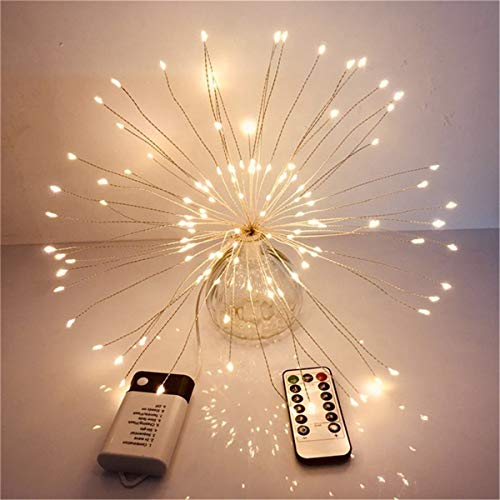 Thenxin Firework Lights Wire Lights 80 LED Lights DIY Fairy Lights with Remote Decorative Hanging Starburst Lights for Patio Party Indoor Christmas Decoration(yellow-80,Free)