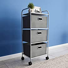 Lavish Home Portable Rolling 3 Fabric Bin Storage Cart with Wheels and Metal Frame – Closet Drawers for Clothes, Home, or Office (Gray)