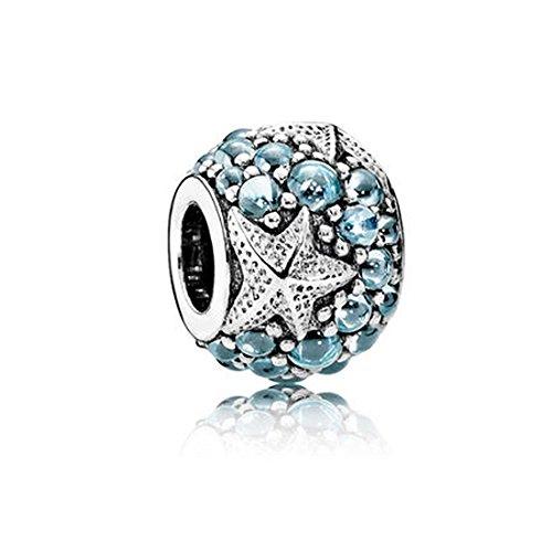 Kiss Me, charm in argento sterling con zirconi, compatibile con braccialetti Pandora, Chamilia e Troll, 11x 12mm, foro: circa 5mm, motivo: stella marina e oceano