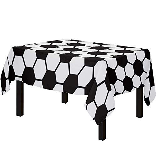 Yun Nist Tablecloths for Rectangle Table Football Sports, Cotton Linen Fabric Table Cover Tabletop Cloth for Dining Room Kitchen, Black and White Geometric Pattern