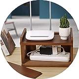 Estanterías de Cubos Router Plataforma Madera Caja De Almacenamiento Router WiFi TV Set-Top Box Tarjeta Plug-in En Rack De Montaje En Pared/Escritorio Colocación