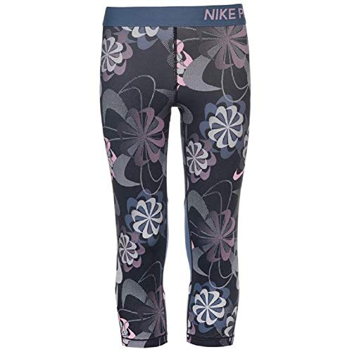 Nike Junior Girls Pro AOP Capri Tights Black/Diffused Blue/Pink Small