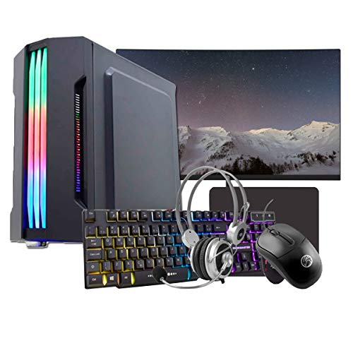 "PC Gamer Completo Intel Core i3 4ª Geração, 8GB RAM DDR3, HD SSD 240GB, GT 710 2GB, Gabinete com LED, Monitor 24"", WiFi, Headset, Teclado e Mouse"