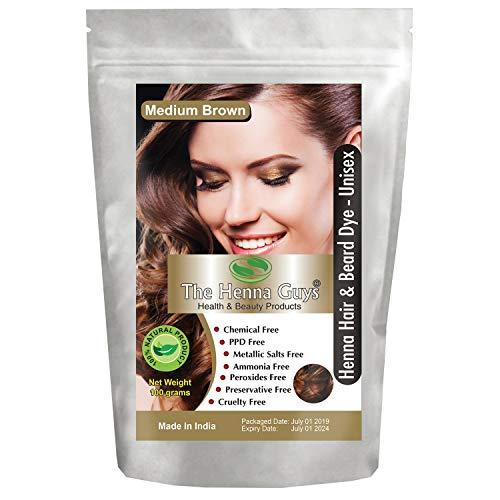 MEDIUM BROWN Henna Hair & Beard Color   Dye - 1 Pack - The Henna Guys