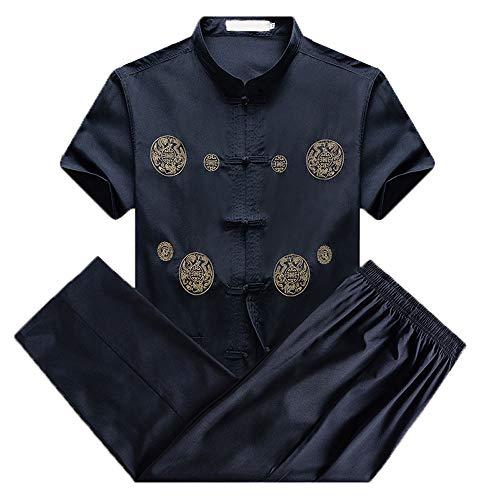 FJJLOVE Tai Chi Uniforme Uomo, Qi Gong Arti Marziali Wing Chun Kung Fu Formazione Panni Capi di Abbigliamento Suit Tang Maglie A Manica Corta + Pantaloni,Nero,L