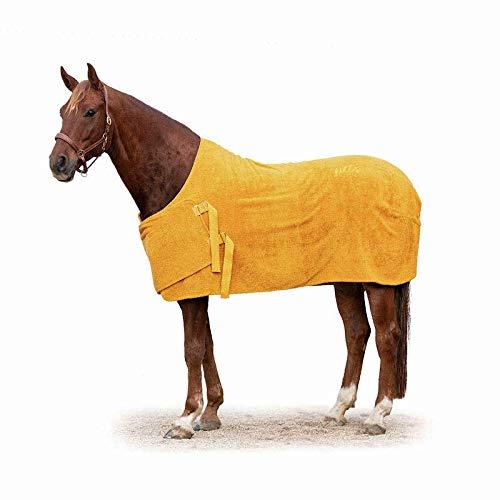 Lill's Manta para caballos, 100% algodón orgánico, orgánico, amarillo, mostaza, caballos, sostenible (XL, longitud de espalda de 170 cm)